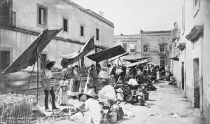 """Mexico City street market 1885"". Licensed under Public domain via Wikimedia Commons."
